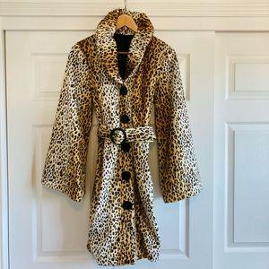 Couture Leopard Print Faux Fur Swing Coat, Large